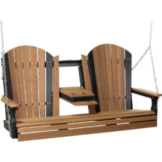 5APSAMB 5' Adirondack Poly Swing (Antique Mahogany & Black)
