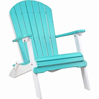 LuxCraft Poly Folding Adirondack Chair Aruba Blue & White