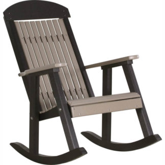 LuxCraft Poly Porch Rocker Weatherwood & Black