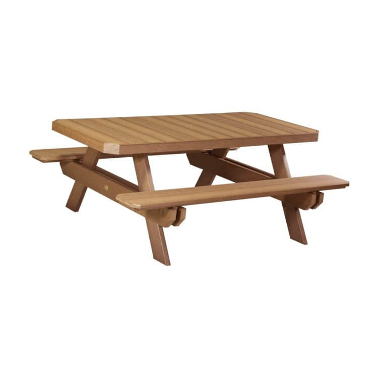 LuxCraft Poly Rectangular Picnic Table Antique Mahogany