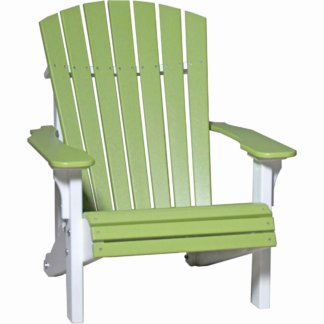 LuxCraft Poly Deluxe Adirondack Chair Lime Green & White