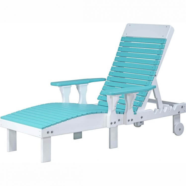 LuxCraft Poly Lounge Chair Aruba Blue & White