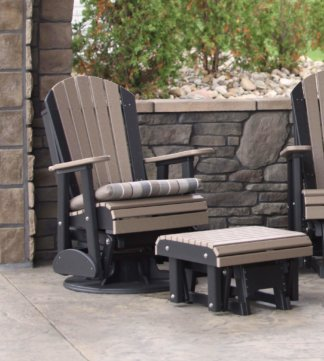 2' Swivel Adirondack Glider Weatherwood & Black with 2' cushion