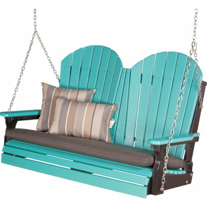 4' Adirondack Swing (Aruba Blue & Black) with Cushions