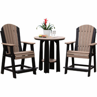 "LuxCraft Poly Adirondack Balcony Chairs & 36"" Balcony Table Weatherwood & Black"