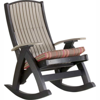 Comfort Rocker Weatherwood & Black with cushion