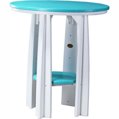 "LuxCraft Poly 36"" Balcony Table Aruba Blue & White"