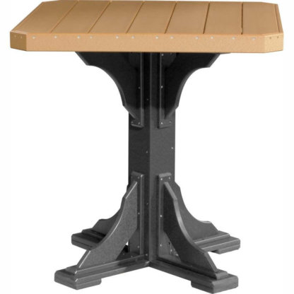"LuxCraft Poly 41"" Square Table Bar Height Cedar & Black"