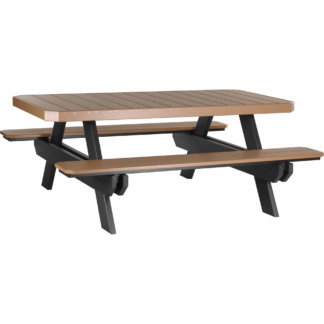 LuxCraft Poly 6' Rectangular Picnic Table Cedar & Black