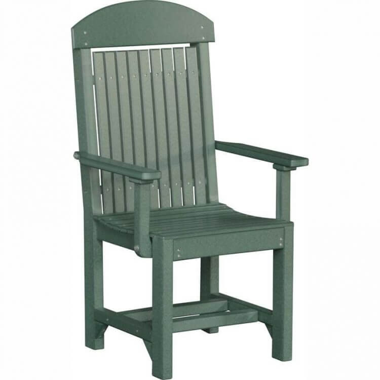 LuxCraft Poly Captain's Chair Dining Height Green