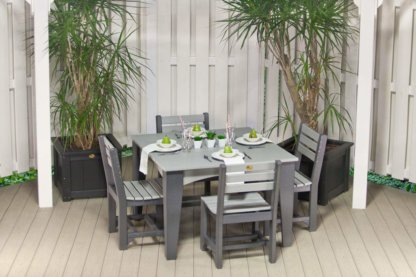LuxCraft Poly Island Dining Table Set Dove Gray & Slate