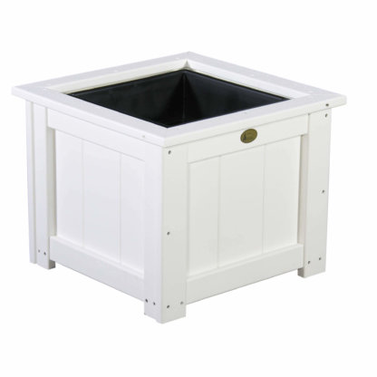 """LuxCraft Poly 24"""" Planter & Liner White"""