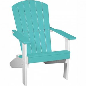 LuxCraft Poly Lakeside Adirondack Chair Aruba Blue & White