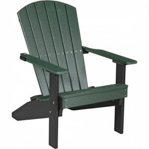 LuxCraft Poly Lakeside Adirondack Chair Green & Black