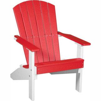 LuxCraft Poly Lakeside Adirondack Chair Red & White