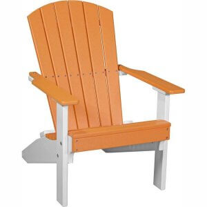 LuxCraft Poly Lakeside Adirondack Chair Tangerine & White