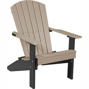 LuxCraft Poly Lakeside Adirondack Chair Weatherwood & Black