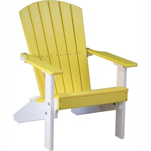 LuxCraft Poly Lakeside Adirondack Chair Yellow & White