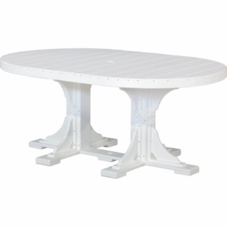 LuxCraft Poly 4x6 Oval Table White