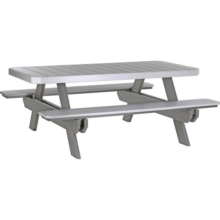 LuxCraft Poly 6' Rectangular Picnic Table Dove Gray & Slate