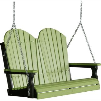 LuxCraft Poly 4' Adirondack Swing Lime Green & Black