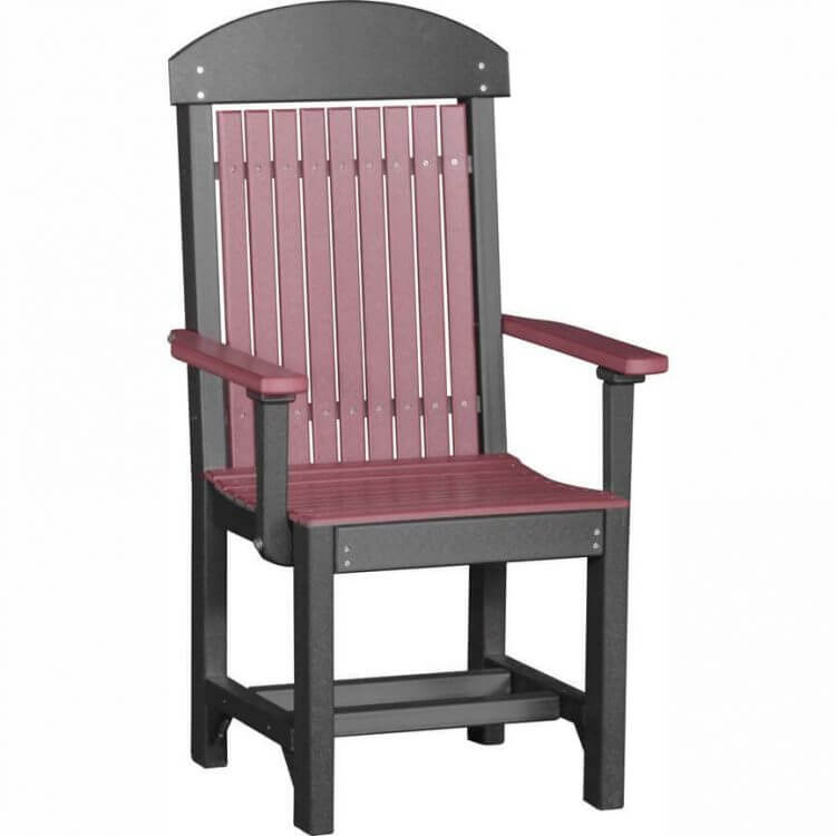 LuxCraft Poly Captain's Chair Dining Height Cherrywood & Black