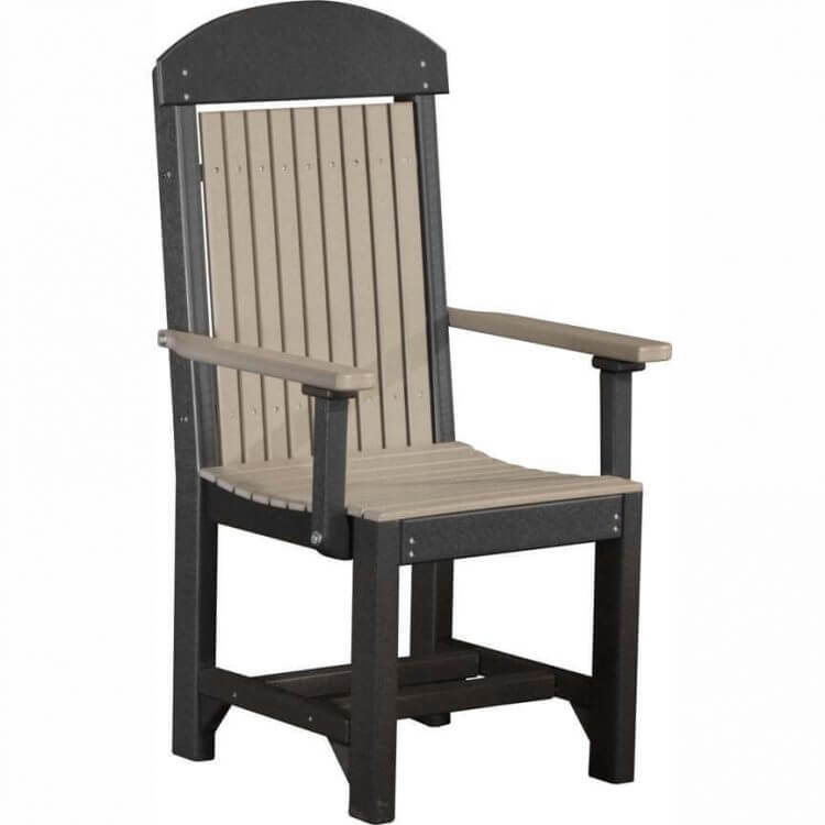 LuxCraft Poly Captain's Chair Dining Height Weatherwood & Black