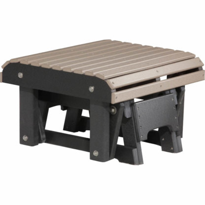 LuxCraft Poly Glider Footrest Weatherwood & Black