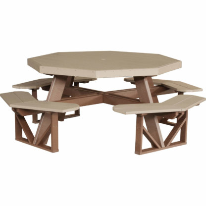 LuxCraft Poly Octagon Picnic Table Weatherwood & Chestnut Brown