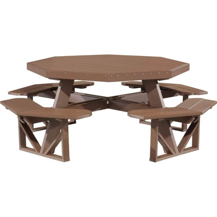 LuxCraft Poly Octagon Picnic Table Chestnut Brown