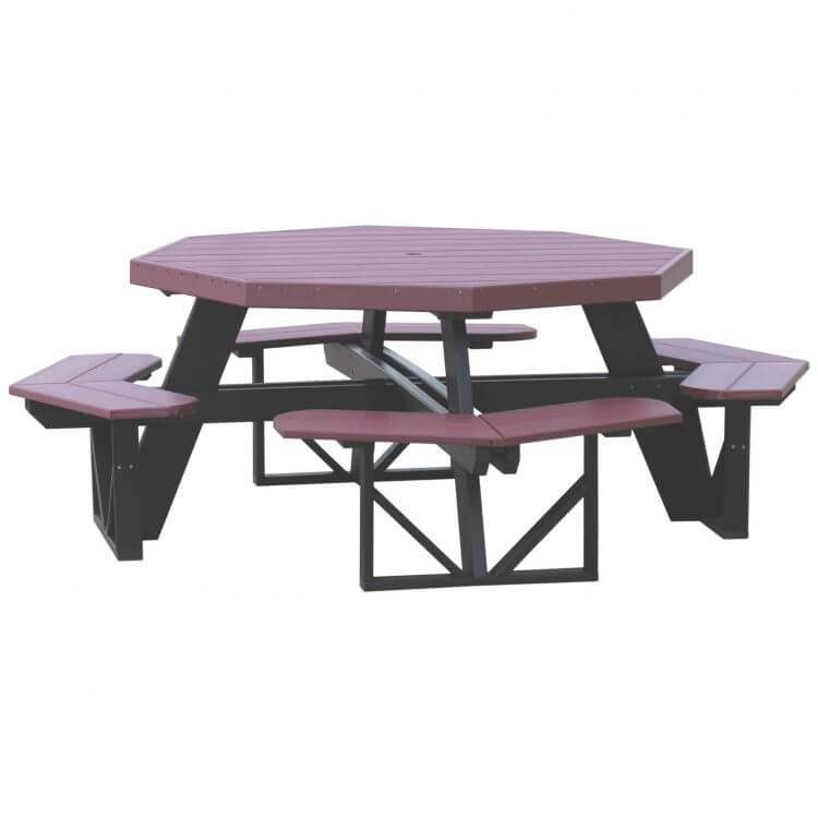 LuxCraft Poly Octagon Picnic Table Cherrywood & Black