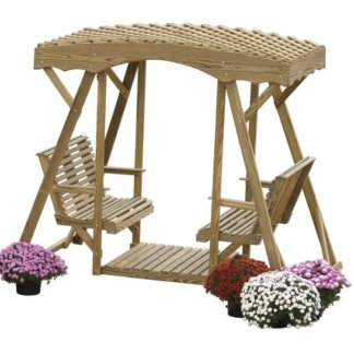 LuxCraft Wood Double Lawn Glider Plain Lattice