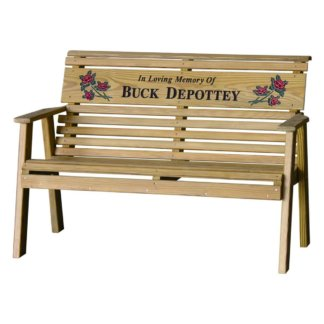 LuxCraft Wood Personalized Plain Bench 4'